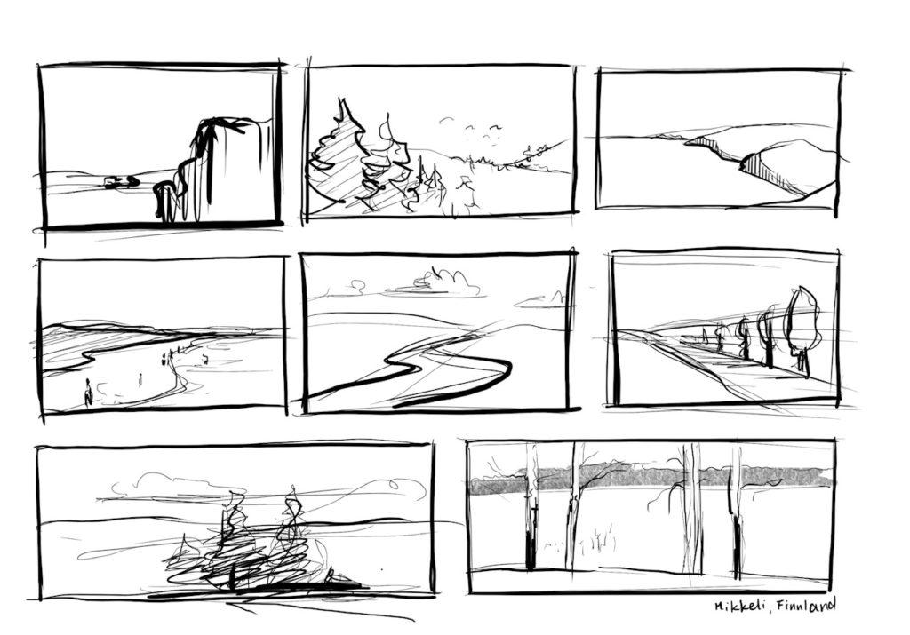 iPad Zeichnung Landschaft mit Linie Struktur