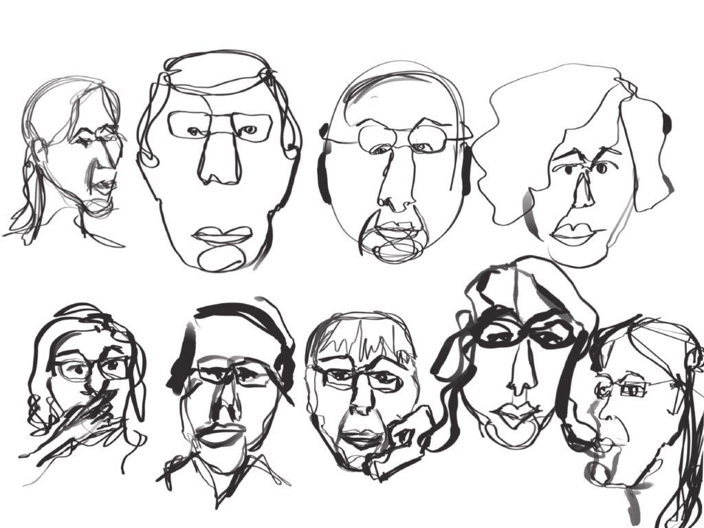 Sketchnoting Gesichter im Oneline Stil gezeichnet