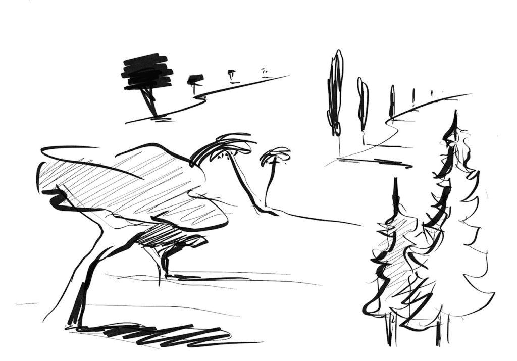 iPad Zeichnung Landschaft mit Bäume