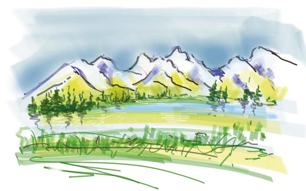 iPad Zeichnung Landschaft mit Fläche Farbe
