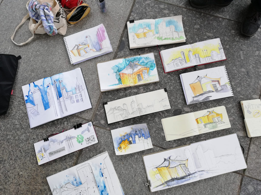 Zeichnung vom Urban Sketching Potsdamer Platz