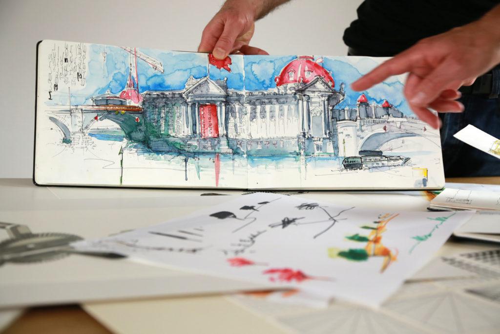 Zeichnung vom Urban Sketching Berliner Inseln