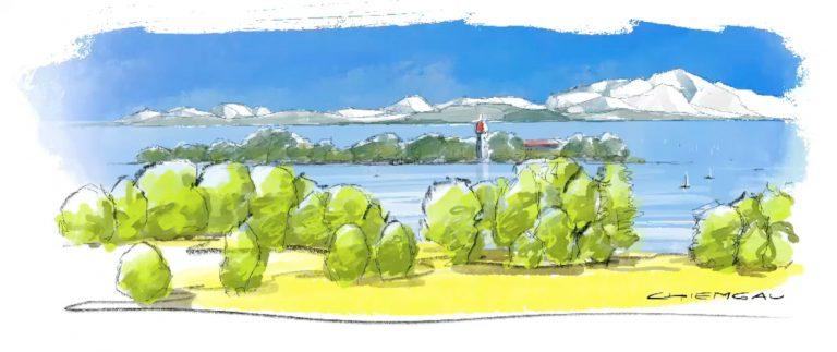 Zeichnung vom iPad Landschaftszeichnen