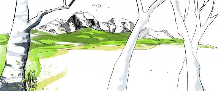 Zeichnung vom iPad Mountain Sketching