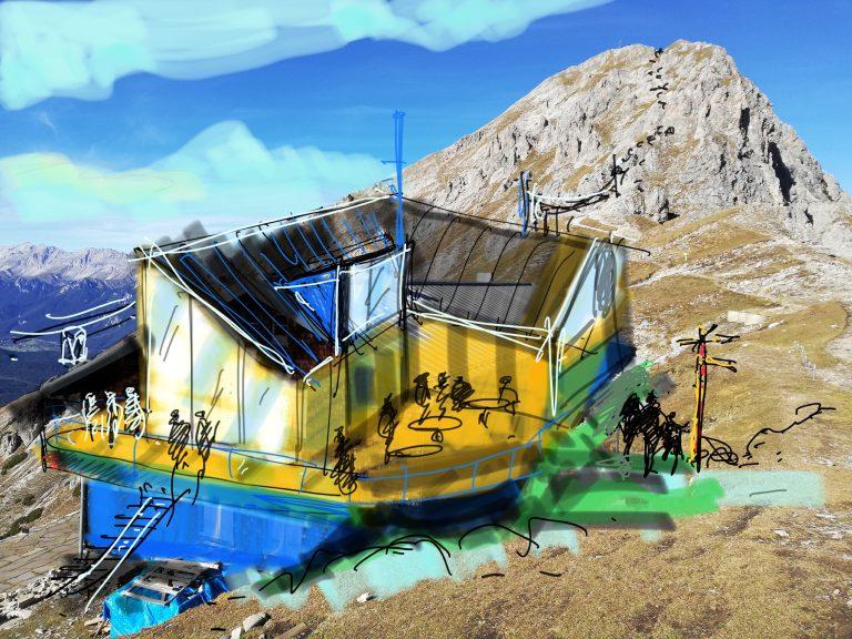 Zeichnung vom iPad Workshop Bauvorentwurf Berghütte