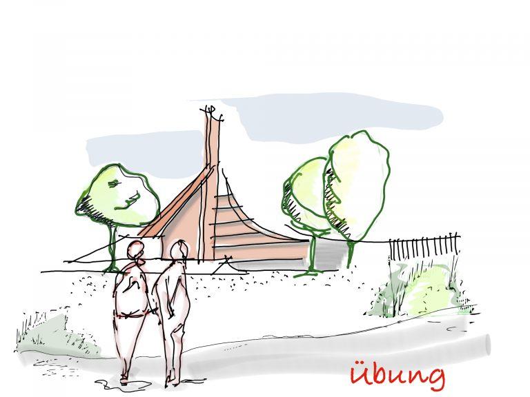 Zeichung vom iPad Workshop Bauvorentwurf Stadion