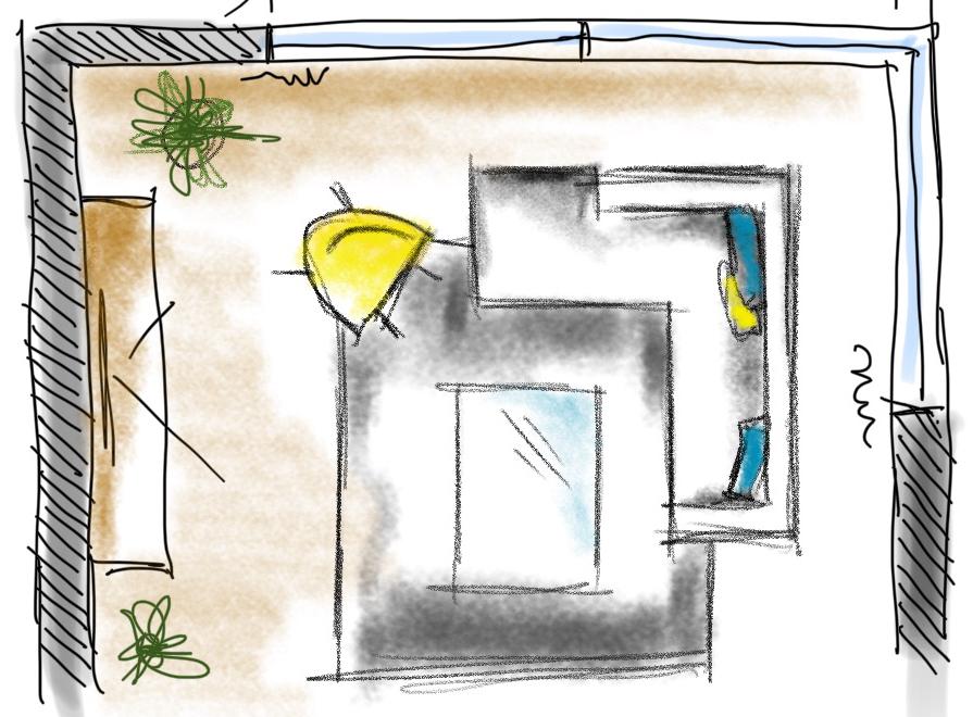 Zeichnung vom iPad Workshop Umbauskizze