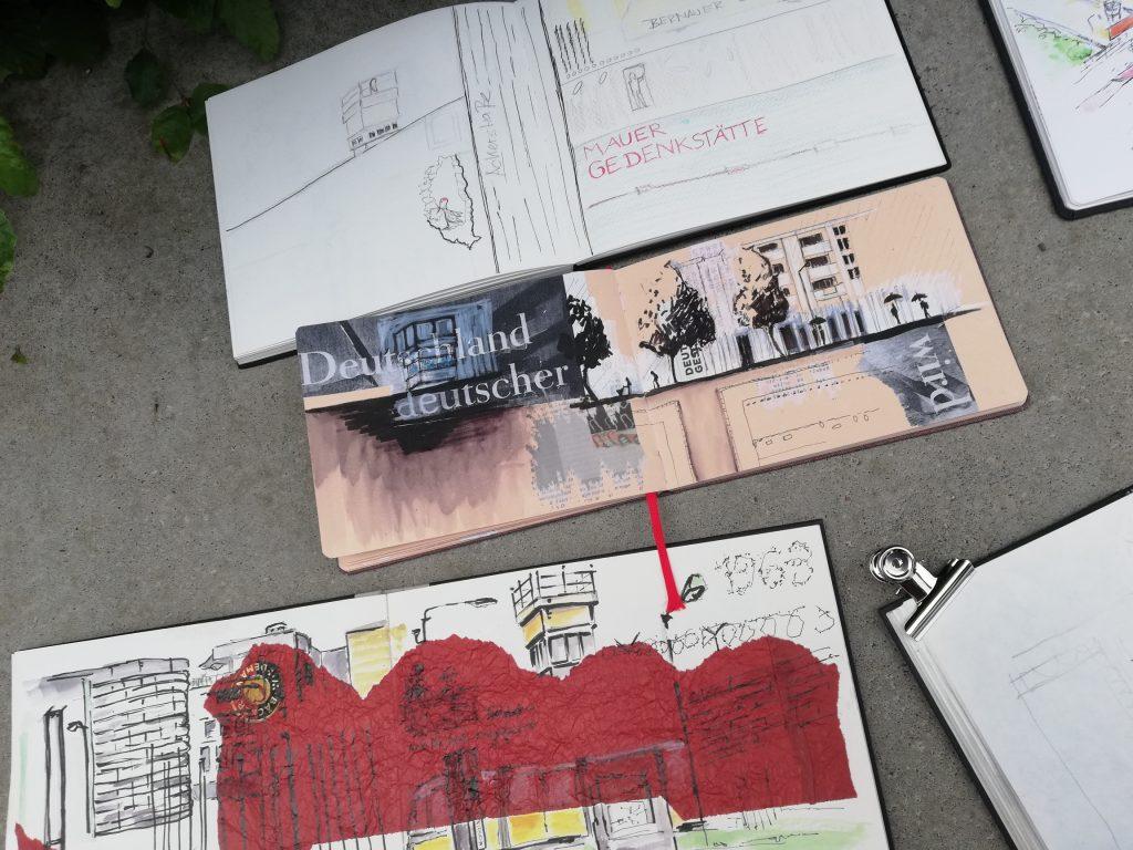 Foto und Zeichnung von Urban Sketching Berliner Mauer