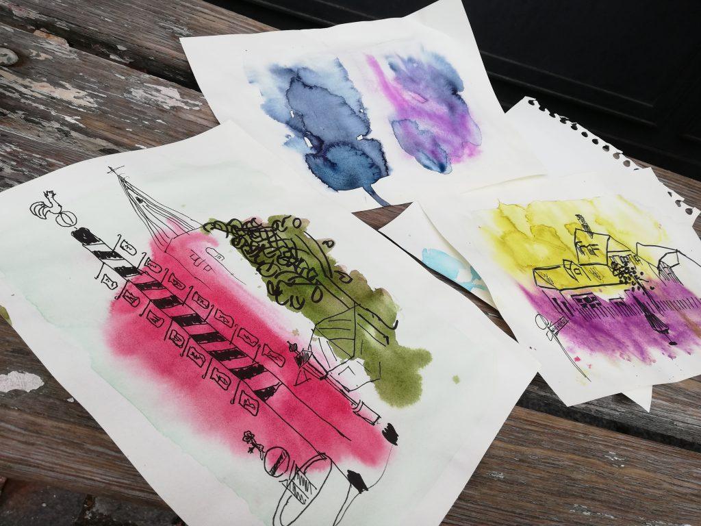 Foto und Zeichnung vom Urban Sketching am Wiener Platz